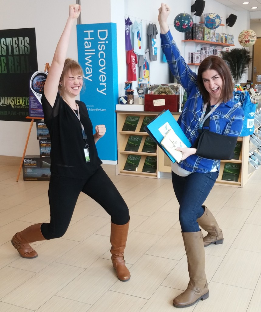 Valerie Gillette (left) and Stephanie D'Arcy (right) accepting the Service Enterprise certification